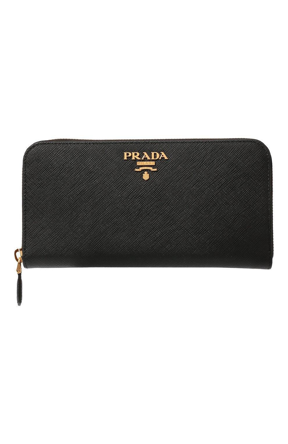 711117d43c3e Кожаный кошелек на молнии с логотипом бренда Prada черного цвета | Фото №1