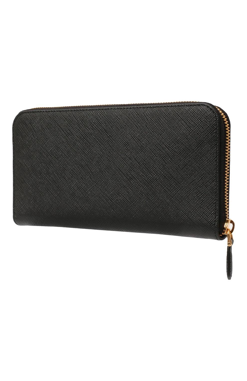 b6e3851d3307 Кожаный кошелек на молнии с логотипом бренда Prada черного цвета | Фото №2