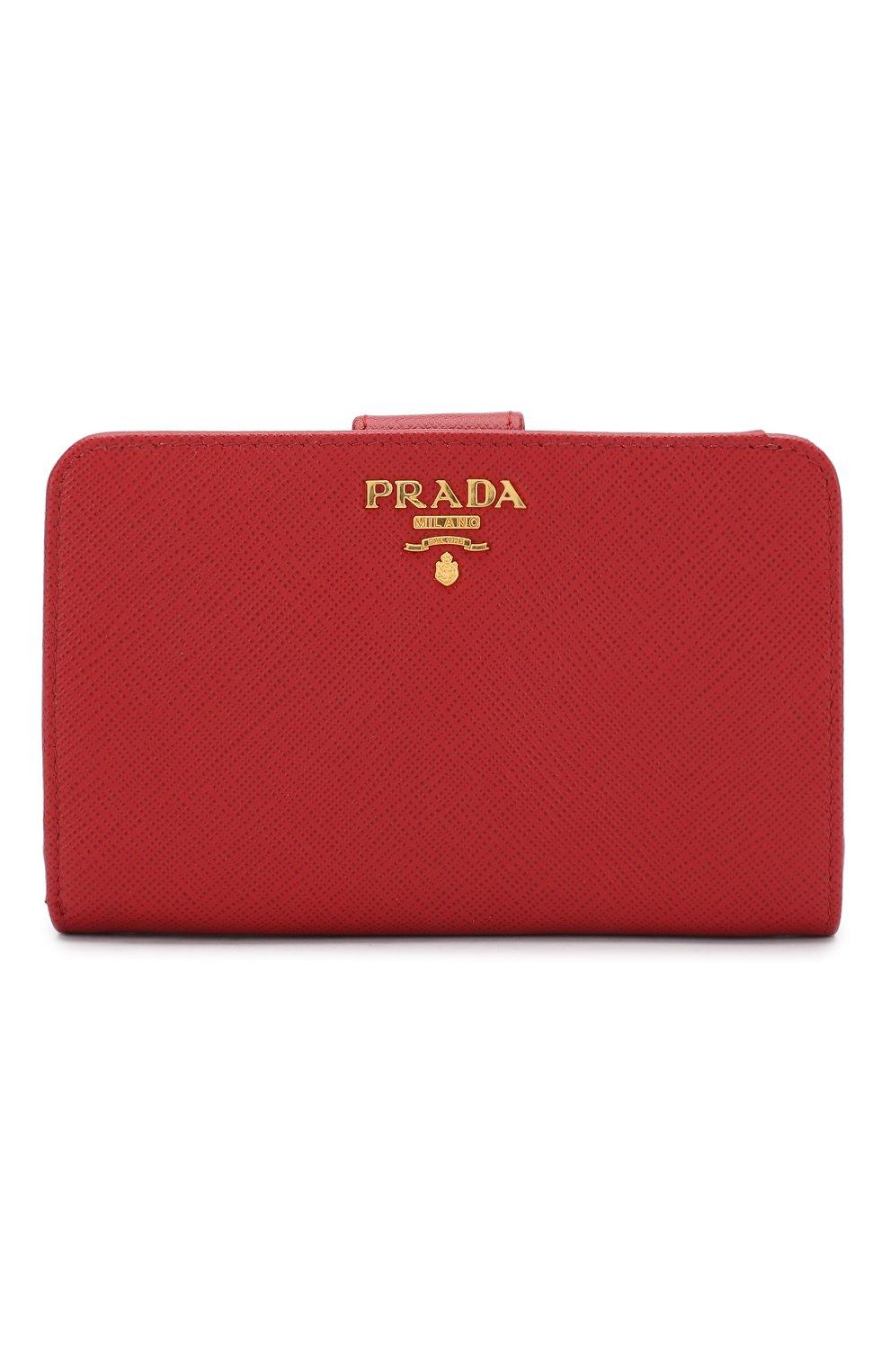 Кожаный кошелек с логотипом бренда Prada красного цвета | Фото №1