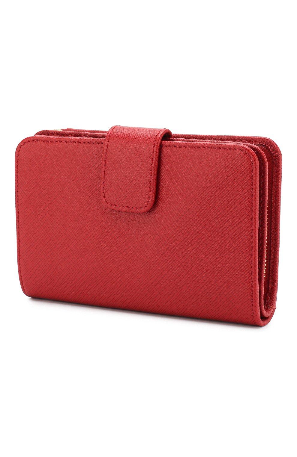 Кожаный кошелек с логотипом бренда Prada красного цвета | Фото №2