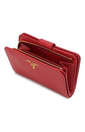 Кожаный кошелек с логотипом бренда Prada красного цвета | Фото №3