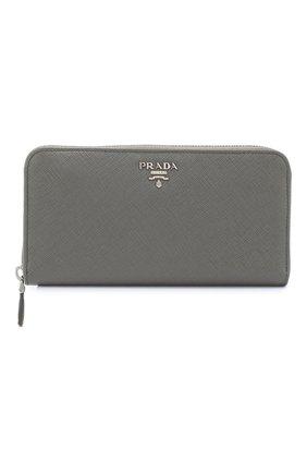 1be9a5031b5e Кожаный кошелек на молнии с логотипом бренда Prada серого цвета | Фото №1
