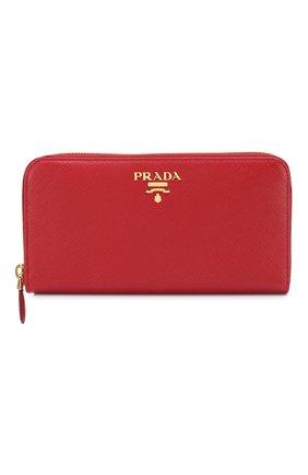Кожаный кошелек на молнии с логотипом бренда Prada красного цвета | Фото №1