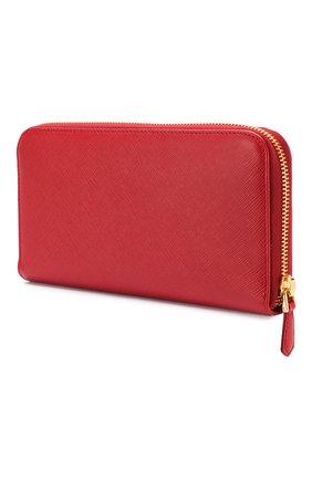 Кожаный кошелек на молнии с логотипом бренда Prada красного цвета | Фото №2