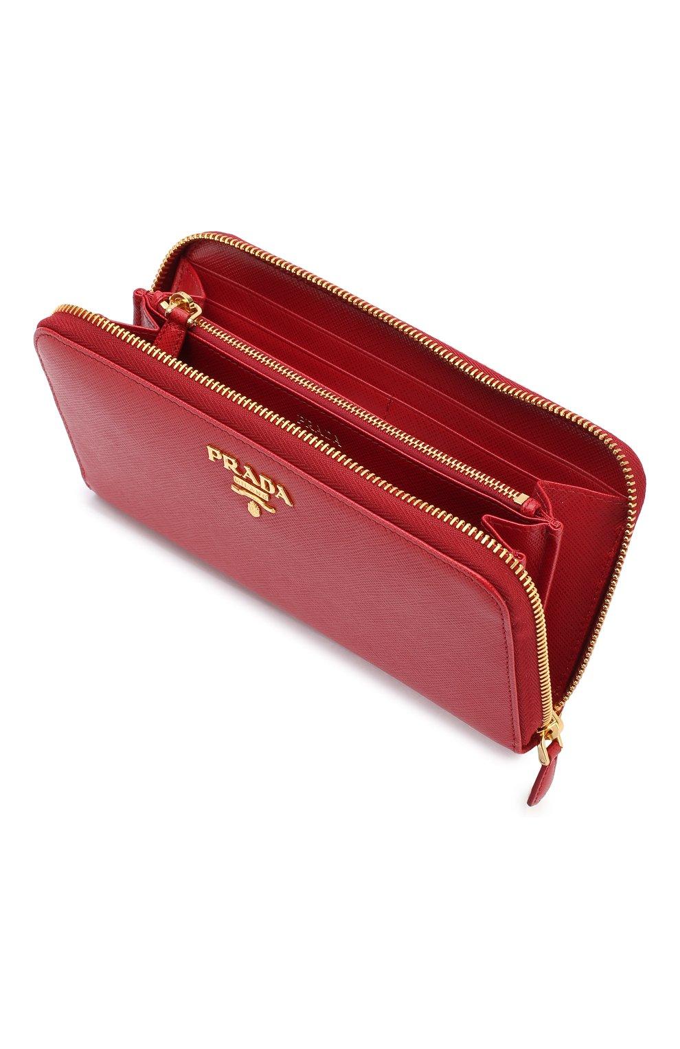Кожаный кошелек на молнии с логотипом бренда Prada красного цвета | Фото №3