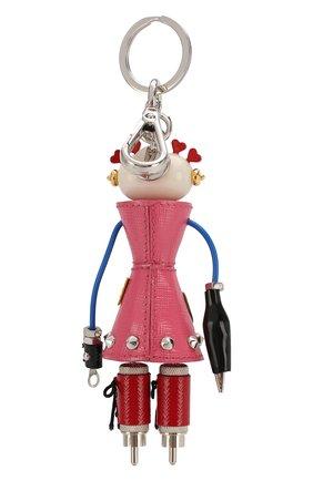 Брелок для ключей с декором Prada розовый | Фото №1