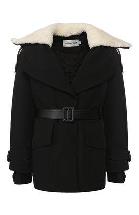 Пальто с поясом и меховой отделкой | Фото №1
