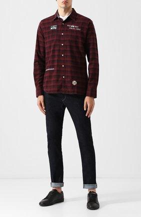 Хлопковая рубашка с воротником кент La Martina бордовая | Фото №1