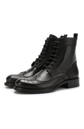 Кожаные ботинки с брогированием на шнуровке   Фото №1