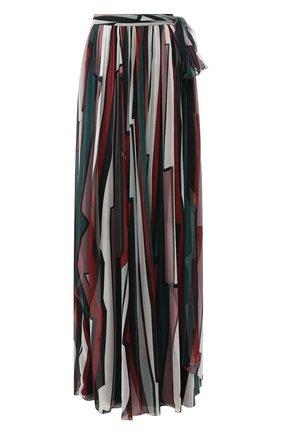 Шелковая юбка-макси с принтом Zuhair Murad разноцветная | Фото №1
