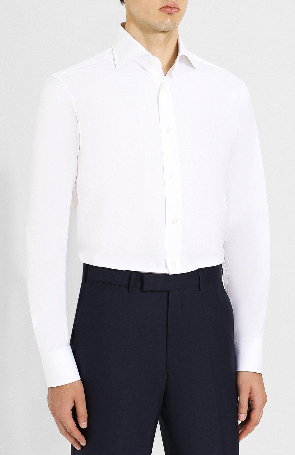 Мужская хлопковая сорочка с воротником кент ZEGNA COUTURE белого цвета, арт. 402300/9NS0RI | Фото 3