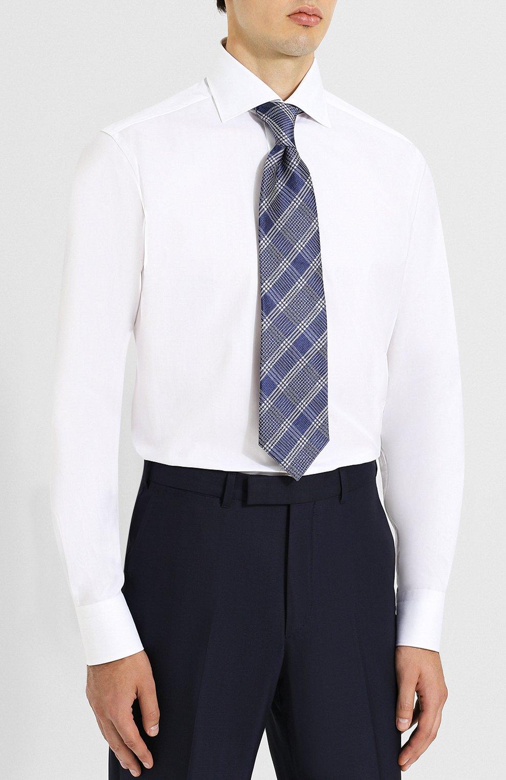 Мужская хлопковая сорочка с воротником кент ZEGNA COUTURE белого цвета, арт. 402300/9NS0RI | Фото 4