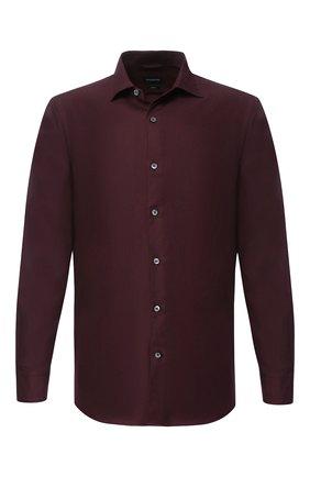 Мужская рубашка из смеси хлопка и кашемира с воротником кент ERMENEGILDO ZEGNA бордового цвета, арт. URX40/SRF5 | Фото 1