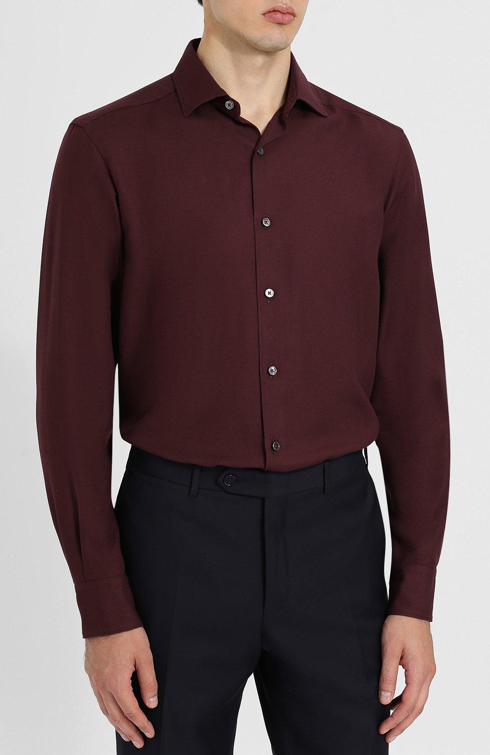 Мужская рубашка из смеси хлопка и кашемира с воротником кент ERMENEGILDO ZEGNA бордового цвета, арт. URX40/SRF5 | Фото 3