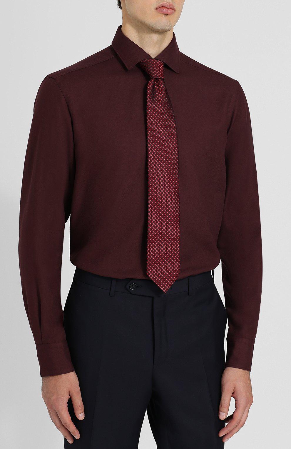 Мужская рубашка из смеси хлопка и кашемира с воротником кент ERMENEGILDO ZEGNA бордового цвета, арт. URX40/SRF5 | Фото 4