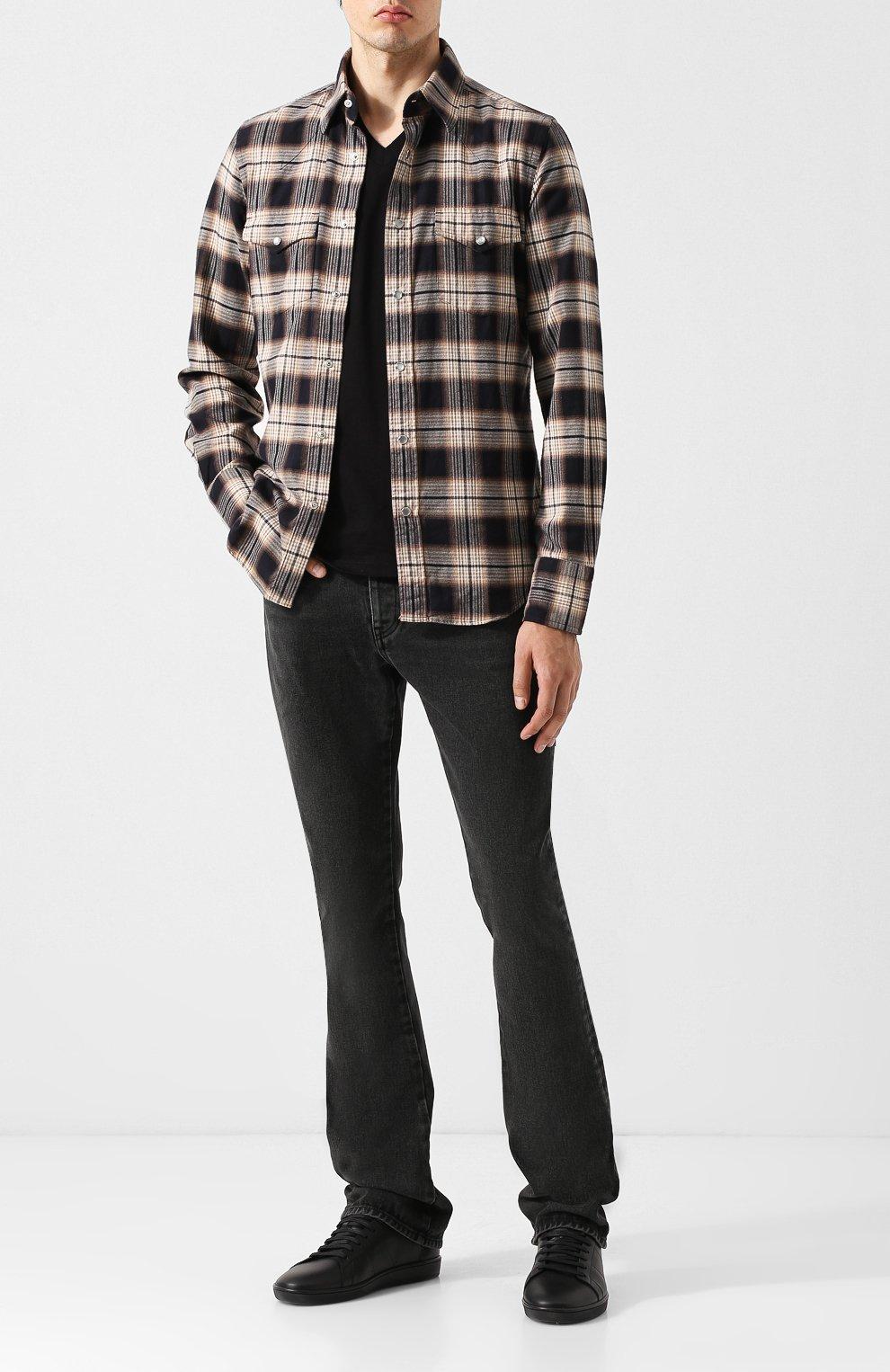 Мужская хлопковая футболка с v-образным вырезом TOM FORD черного цвета, арт. BR238/TFJ927   Фото 2