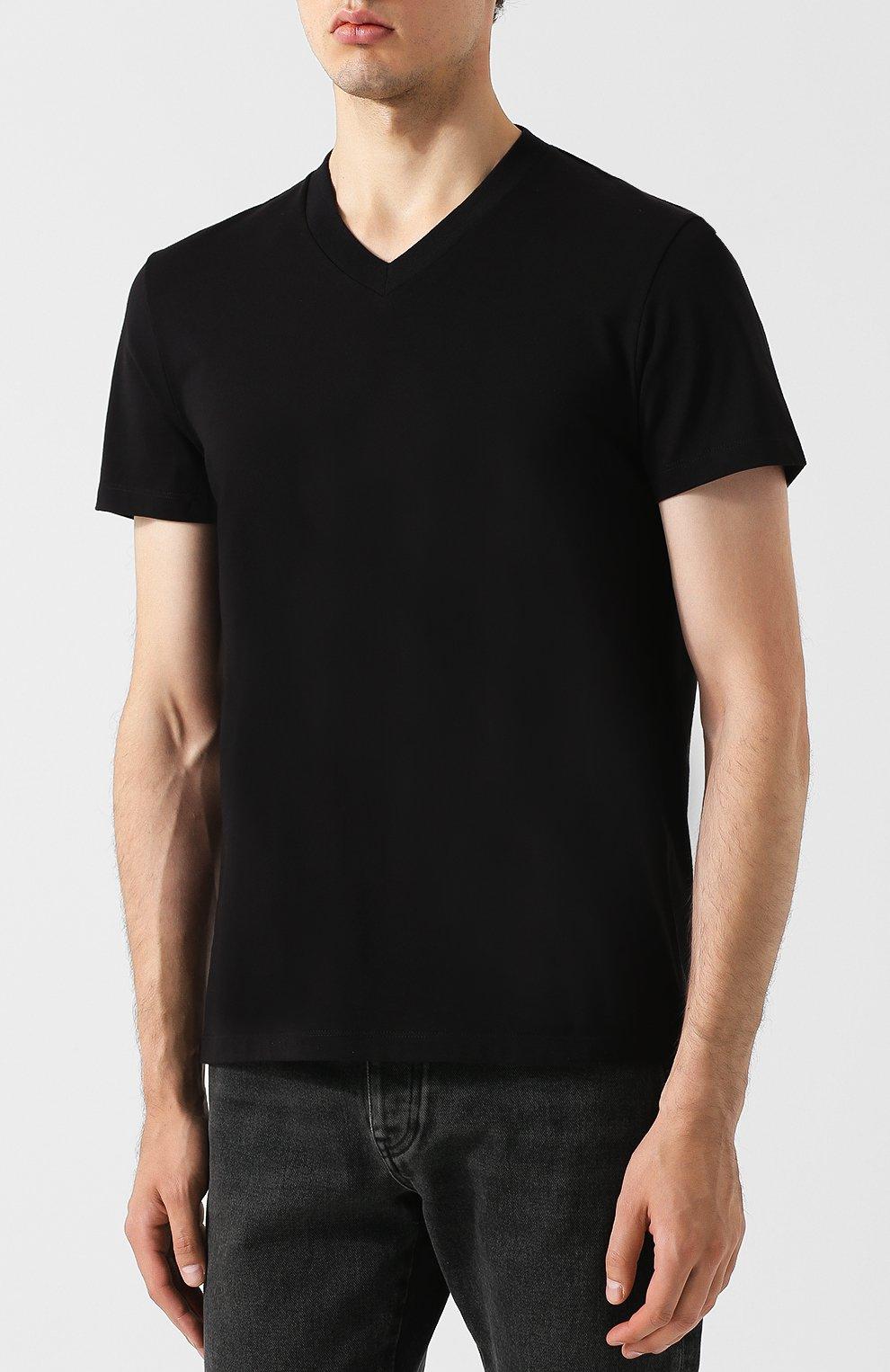 Мужская хлопковая футболка с v-образным вырезом TOM FORD черного цвета, арт. BR238/TFJ927   Фото 3