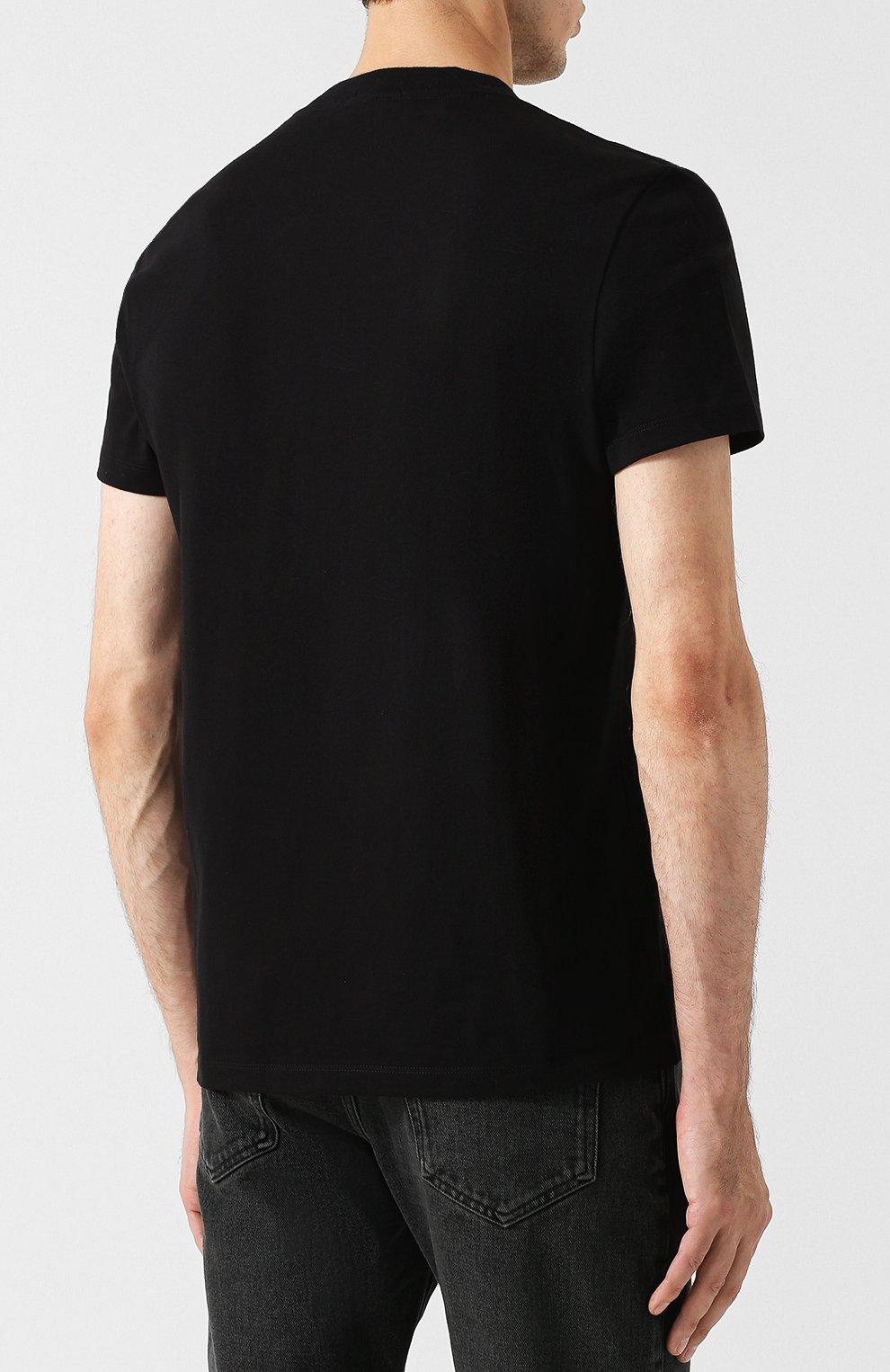 Мужская хлопковая футболка с v-образным вырезом TOM FORD черного цвета, арт. BR238/TFJ927   Фото 4