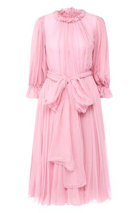 Шелковое платье-миди с поясом | Фото №1