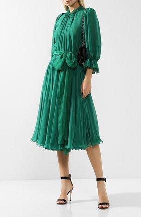 Шелковое платье-миди с поясом Dolce & Gabbana зеленое   Фото №1
