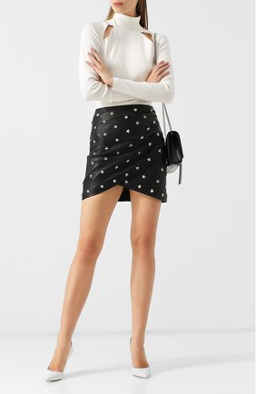 Кожаная мини-юбка с декоративной отделкой Alice + Olivia черная   Фото №1
