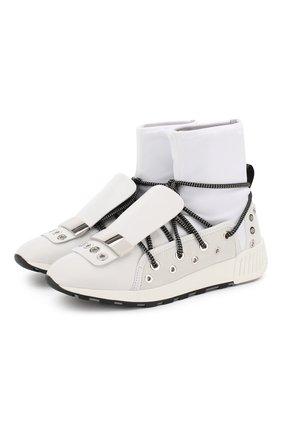 Высокие комбинированные кроссовки на шнуровке Sergio Rossi белые   Фото №1