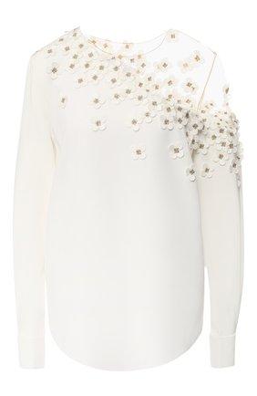 Шелковая блуза с декоративной отделкой   Фото №1