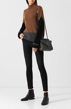 Шерстяной пуловер со спущенным рукавом Windsor коричневый | Фото №1