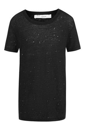 Льняная футболка с декоративными разрезами | Фото №1