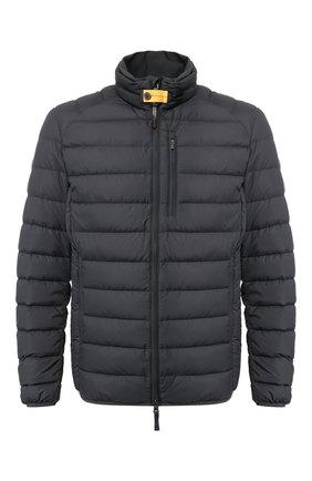 Пуховая куртка Ugo на молнии с воротником-стойкой Parajumpers темно-синяя   Фото №1