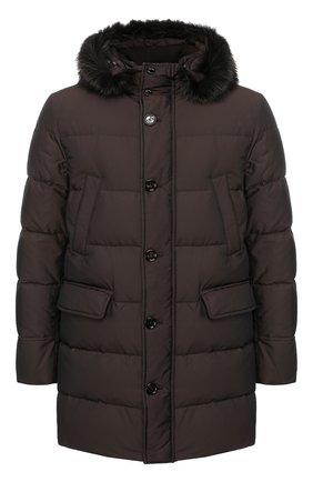 Пуховая куртка на молнии с капюшоном Moorer коричневая   Фото №1