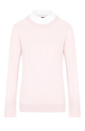 Шерстяной пуловер с контрастными вставками и воротником-стойкой Windsor светло-розовый | Фото №1