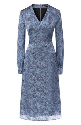 Приталенное платье с V-образным вырезом и принтом | Фото №1