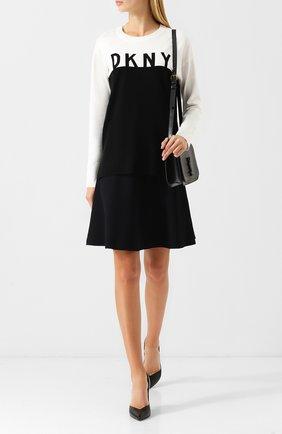Вязаный пуловер с логотипом бренда DKNY черно-белый | Фото №1