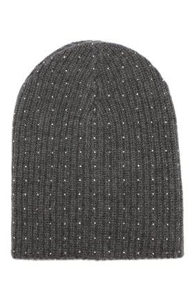 Кашемировая шапка фактурной вязки со стразами William Sharp темно-серого цвета | Фото №1