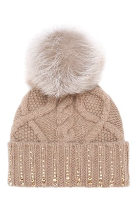 Кашемировая шапка с меховым помпоном William Sharp бежевого цвета | Фото №1