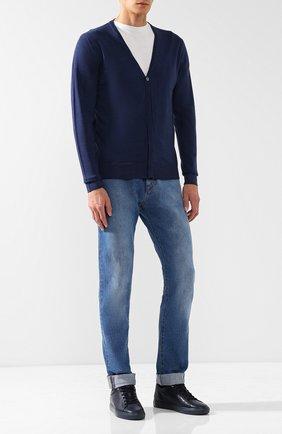 Мужские кожаные кеды tom на шнуровке HARRYS OF LONDON синего цвета, арт. T0M NAPPA LEATHER/TEACH | Фото 2