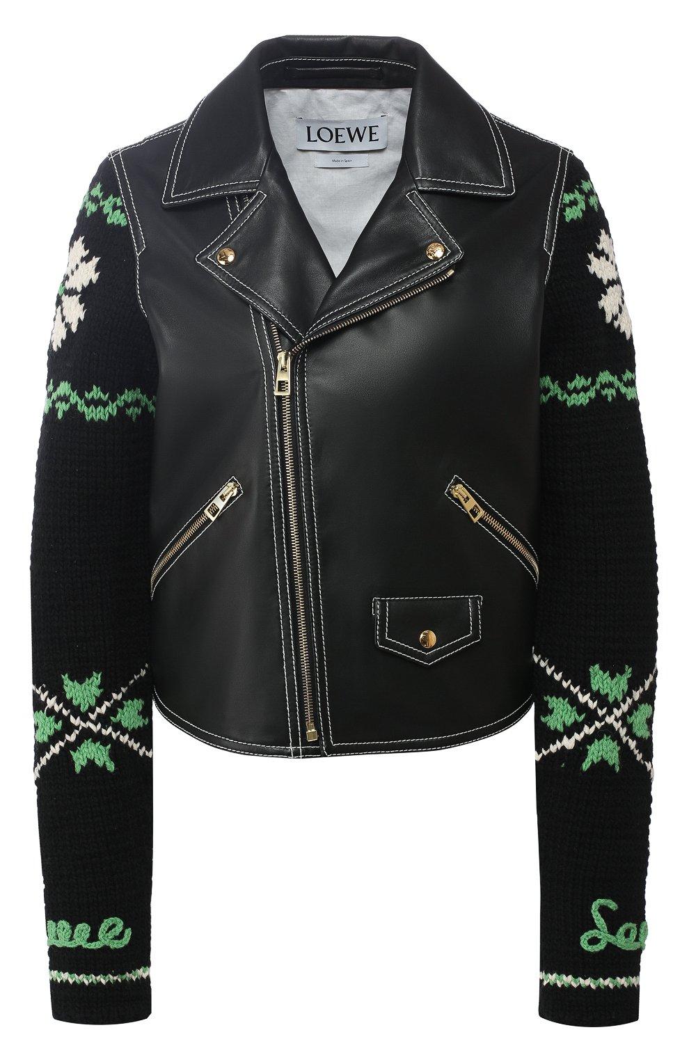 6bb17320333 Женская черная кожаная куртка с вязаным рукавом LOEWE — купить за ...