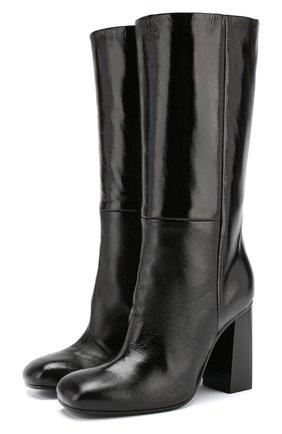 Кожаные сапоги на устойчивом каблуке Baldan черные | Фото №1