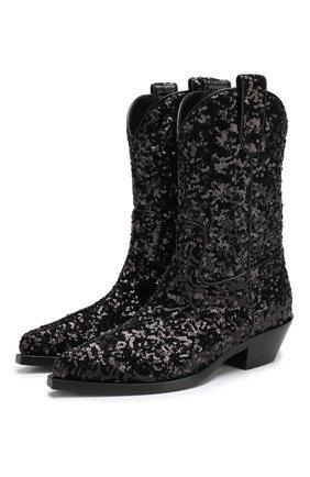 Сапоги Gaucho с отделкой пайетками на устойчивом каблуке Dolce & Gabbana черные   Фото №1