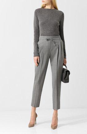 Вязаный пуловер с круглым вырезом Windsor серебряный | Фото №1