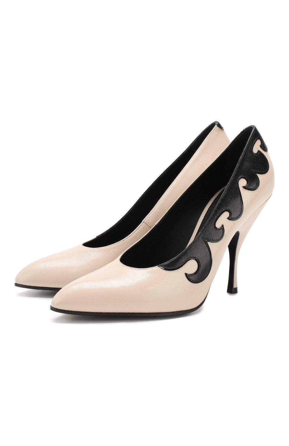 4f1f2b8dd10e Женские бежевые кожаные туфли с аппликацией на шпильке BOTTEGA VENETA  Италия 5354440 533049/VX190