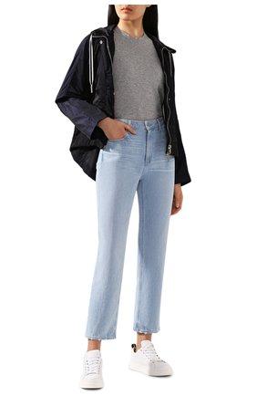 Женская хлопковая футболка VINCE серого цвета, арт. VR59183107 | Фото 2