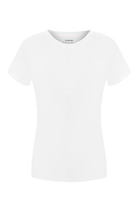 Хлопковая футболка с V-образным вырезом Vince черная | Фото №1
