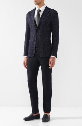 Однобортный пиджак из смеси шерсти и шелка Luciano Barbera темно-синий | Фото №1