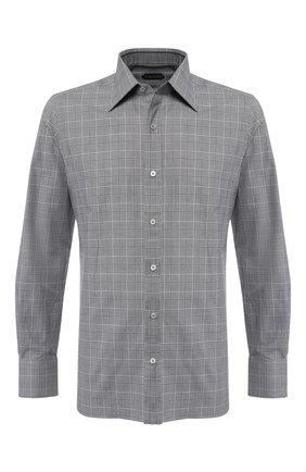 Мужская хлопковая сорочка с воротником кент TOM FORD серого цвета, арт. 4FT180/94S1JE | Фото 1