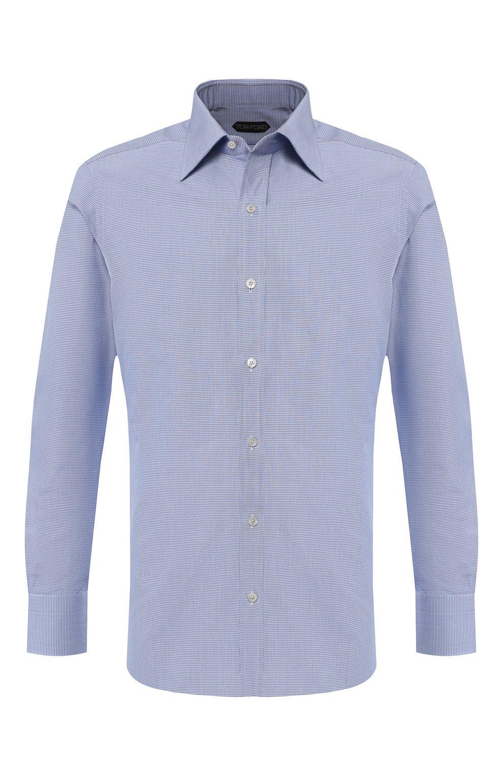 Мужская хлопковая сорочка с воротником кент TOM FORD голубого цвета, арт. 4FT603/94S1JE   Фото 1