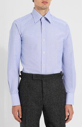 Мужская хлопковая сорочка с воротником кент TOM FORD голубого цвета, арт. 4FT603/94S1JE   Фото 3
