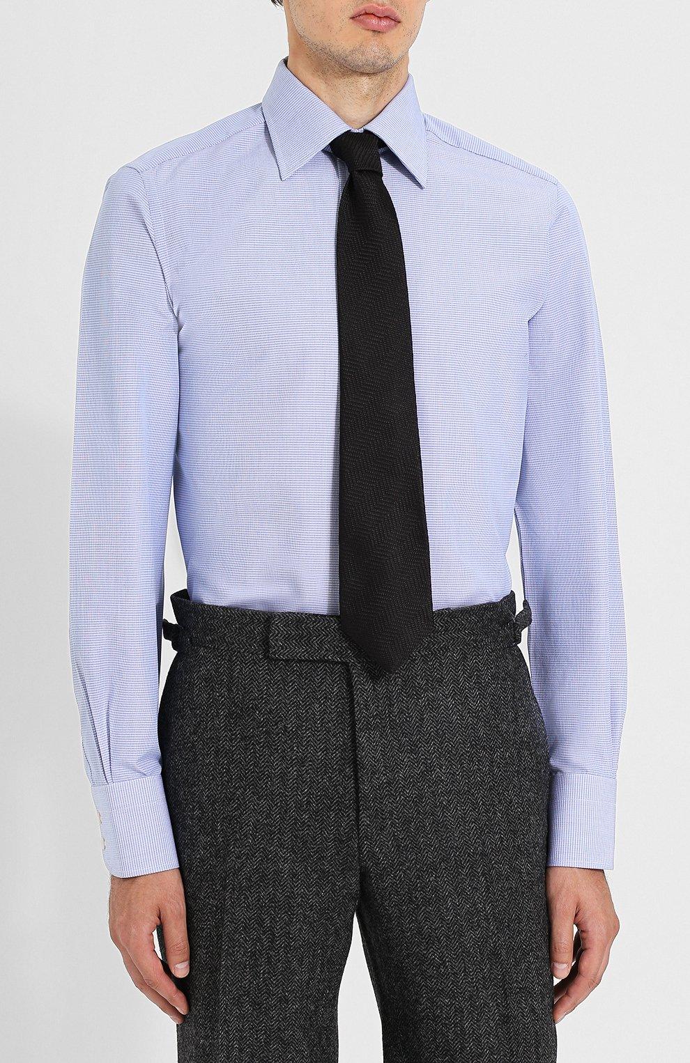 Мужская хлопковая сорочка с воротником кент TOM FORD голубого цвета, арт. 4FT603/94S1JE   Фото 4