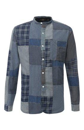 Джинсовая рубашка с воротником мандарин RRL темно-синяя | Фото №1